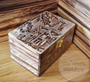 Деревянная шкатулка с гравировкой фотографии