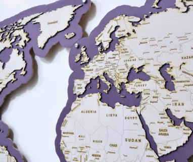 Карта мира лиловая на стену