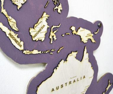Карта мира деревянная на стену